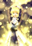 ahoge aoi_usagi armor armored_dress blonde_hair dress excalibur fate/zero fate_(series) gauntlets glowing glowing_weapon green_eyes hair_ribbon ribbon saber solo sword weapon