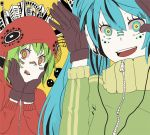 aqua_hair building crazy_eyes gloves green_hair gumi hands_on_own_face hands_up hatsune_miku headphones hoodie lip_piercing long_hair matryoshka_(vocaloid) multicolored_eyes multiple_girls piercing shiuka short_hair smile smiley_face track_jacket twintails vocaloid