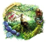 character_request chibi_(shimon) fishing_rod flower forest holding hydrangea koinobori livly_island male mushroom nature personification scenery silver_hair sitting solo spider suspenders