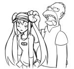 1boy 1girl bald crossover drawfag drooling female_protagonist_(pokemon_bw2) hair_bun hair_grab homer_simpson long_hair mei_(pokemon) monochrome parody pokemon pokemon_(game) pokemon_bw2 raglan_sleeves shocked_eyes the_simpsons twintails visor_cap what
