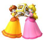 2girls blonde_hair blue_eyes brown_hair crown earrings gloves long_hair mario_party multiple_girls princess_daisy princess_peach smile