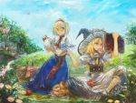 alice_margatroid apple apron blonde_hair blue_eyes bow braid capelet cup doughnut flower food fruit hair_bow hairband hat kasudaao kirisame_marisa long_hair mouth_hold multiple_girls picnic picnic_basket pot pouring reading short_hair single_braid sitting teacup touhou waist_apron witch witch_hat yellow_eyes