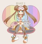 between_legs black_legwear blue_eyes brown_hair cross-laced_footwear doll double_bun female_protagonist_(pokemon_bw2) grey_background hand_between_legs highres long_hair mei_(pokemon) minccino munna nago_celica pantyhose pokemon pokemon_(game) pokemon_bw2 polka_dot polka_dot_background raglan_sleeves shirt shoes simple_background sitting skirt smile sneakers solo stuffed_animal stuffed_toy text title_drop twintails visor visor_cap watch wristwatch
