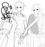 aegis amagi_yukiko android arm_cannon eu03 leg_hug long_hair monochrome multiple_girls pantyhose persona persona_3 persona_4 short_hair sketch weapon