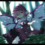 1girl animal_ears bird_wings bow breasts brooch dress dress_lift earrings feathered_wings forest fuuen_(akagaminanoka) hat jewelry leg_up letterboxed light long_sleeves mystia_lorelei nature pink_eyes purple_dress shadow shirt socks solo touhou tree wide_sleeves wings