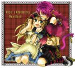 1girl alice_liddell animal_ears apron bandage bandages blush boris_airay brown_hair cat_ears catboy chain chains closed_eyes collar dress earrings eyes_closed feather_boa fingerless_gloves fishbone gloves green_eyes hair_ornament hair_over_one_eye heart_no_kuni_no_alice hug jewelry long_hair piercing pink_hair shorts smile socks striped striped_socks tail tattoo ziper