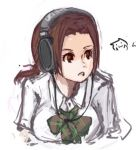 1girl bow breasts brown_eyes brown_hair chihayafuru headphones large_breasts long_hair lowres ooe_kanade pan!ies plaid rough school_uniform sennheiser solo twintails