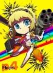 :< aegis armor bad_id blonde_hair blue_eyes bullet character_name chibi cyborg expressionless hairband highres legs lips necktie persona persona_3 persona_4:_the_ultimate_in_mayonaka_arena persona_4_the_ultimate rainbow robot_joints short_hair simple_background solo title_drop weapon yamizawa yellow_background