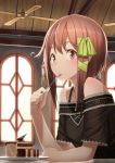 ac_(eshi) bare_shoulders brown_eyes brown_hair cake ceiling_fan food fork hair_ribbon hands indoors jewelry looking_at_viewer original payot pendant ribbon saucer short_hair solo strap window