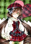 :3 alternate_costume beret bow brown_hair frilled_sleeves frills green_eyes hair_between_eyes hat hat_bow lace marker_(medium) nm_xyukky rozen_maiden solo star suiseiseki traditional_media twintails wink