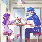 blue_hair eusis_landale isedaichi_ken nei phantasy_star phantasy_star_ii pointy_ears pouring purple_hair slippers young