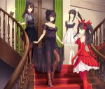 4girls aqua_eyes bare_shoulders brown_hair brown_legwear elbow_gloves evening_gown fate/stay_night fate_(series) gloves green_eyes hair high_res kara_no_kyoukai kokutou_azaka kuonji_alice long_hair looking_back mahou_tsukai_no_yoru multiple_girls open_mouth pantyhose ponytail red_carpet ribbon short_hair stairs tohno_akiha toosaka_rin tsukihime tsukikanade two_side_up type-moon white_legwear wink