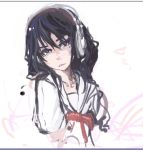 1girl akg black_hair brown_eyes chihayafuru headphones long_hair mole pan!ies rough school_uniform serafuku solo wakamiya_shinobu