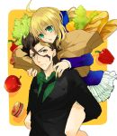 1girl apple bad_id bag baguette bell_pepper black_hair blonde_hair bread casual fate/zero fate_(series) food formal fruit green_eyes grocery_bag kusunokiokonogi lancer_(fate/zero) lettuce mole necktie pepper piggyback pleated_skirt saber shopping_bag skirt suit sweatdrop tomato yellow_eyes