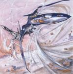 condensation_trail desert epic flying guld_goa_bowman isamu_dyson itano_circus macross macross_plus mecha missile miyatake_kazutaka mountain official_art production_art rock sandstorm scan science_fiction traditional_media yf-19 yf-21