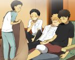 4boys abe_takaya black_hair brown_hair closed_eyes grin holding_hands kl mihashi_ren multiple_boys ookiku_furikabutte open_mouth school_uniform sleeping smile sweat tajima_yuuichirou yaoi yuuto_akaeguchi