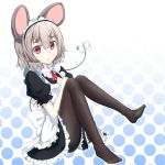 1girl alternate_costume animal_ears black_legwear blush bow enmaided looking_at_viewer maid maid_headdress mouse_ears mouse_tail nazrin nogisaka_kushio pantyhose pout red_eyes short_hair silver_hair solo tail tail_bow touhou