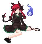 braid cat_ears cat_tail hair_ribbon highres kaenbyou_rin kt2 multiple_tails red_eyes red_hair redhead ribbon short_hair solo tail touhou transparent_background twin_braids twintails