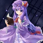 book crescent hat long_hair makai_no_koutaishi patchouli_knowledge purple_eyes purple_hair solo touhou violet_eyes