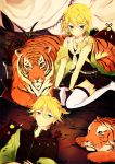 brother_and_sister earrings hair_ornament hairclip ham_(eikasiahhh) jewelry kagamine_len kagamine_rin kneeling lying short_hair siblings skirt smile thigh-highs thighhighs tiger twins vocaloid