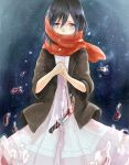 black_eyes black_hair blood blush dress knife mikasa_ackerman scarf shingeki_no_kyojin shinsha_(as8521) tears