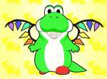 costume crossover flandre_scarlet gif nintendo super_mario_bros. touhou wings yoshi