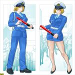 breasts brown_hair hat huge_breasts legs peaked_cap police police_uniform policewoman short_hair type43 uniform