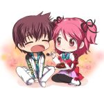 1boy 1girl asbel_lhant bad_id blush brown_eyes brown_hair cheria_barnes chibi closed_eyes curry feeding food kurimomo pink_hair short_hair smile spoon tales_of_(series) tales_of_graces twintails two_side_up