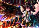 arm_cannon black_hair bow hair_bow kabutoyama long_hair orange_eyes reiuji_utsuho skirt thigh-highs thighhighs touhou weapon wings