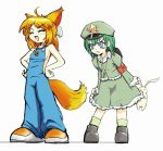 2girls angry animal_ears armband blue_eyes bunny crab firefox fox_ears fox_tail green_dam hat jpeg_artifacts lolifox multiple_girls naked_overalls os-tan overalls shoes simple_background stuffed_animal stuffed_toy tail tears