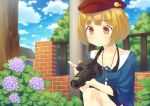 1girl blonde_hair blush brown_eyes camera cloud flower frog hat highres house hydrangea jewelry kazushiki_midori leaves lens looking_down necklace original short_hair sky smile snail solo squatting strap wet