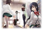black_hair glasses hinasaki seifuku thigh-highs thighhighs tsuisou_no_augment