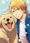 blonde_hair blue_eyes blue_jacket bomber_jacket dog jacket john_(tiger_&_bunny) keith_goodman morino_mizu short_hair tiger_&_bunny