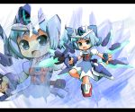 alternate_weapon blue_eyes blue_hair bow chibi cirno garoudo_(kadouhan'i) garoudo_(kadouhan'i) mecha_musume ribbon short_hair touhou weapon
