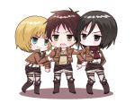 1girl 3boys armin_arlert belt black_eyes black_hair blue_eyes blush boots brown_hair buckle chibi eren_jaeger green_eyes hokkekan jacket long_sleeves mikasa_ackerman multiple_boys open_mouth scarf shingeki_no_kyojin short_hair sweatdrop teeth thigh_strap white_background