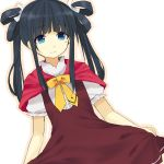 akai_ringo akai_ringo_(cosplay) black_hair blue_eyes cosplay dress long_hair mole ookami-san ribbon ryuuguu_otohime shimeism smile solo