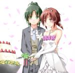 cake corsage dress food formal gloves green_eyes green_hair groom hand_on_another's_waist hino_akane knife midorikawa_nao multiple_girls necktie orange_eyes orange_hair pant_suit petals ponytail precure smile_precure! strapless suit wedding_cake wedding_dress white_gloves yuri yuutarou_(fukiiincho)