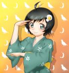 ahoge araragi_tsukihi black_hair blue_eyes blush fried_egg hair_ornament japanese_clothes kimono looking_at_viewer monogatari_(series) nisemonogatari onsoku_maru pose short_hair solo