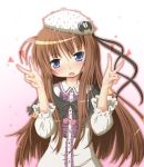 :o blue_eyes blush brown_hair double_v hat highres long_hair looking_at_viewer original sakuraebi_chima solo v