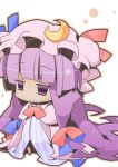 chibi crescent dress hat long_hair nyuusankin outline patchouli_knowledge purple_eyes purple_hair solo standing striped touhou violet_eyes