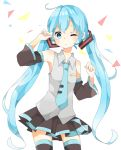 1girl blue_eyes blue_hair detached_sleeves hatsune_miku jimmy long_hair necktie skirt solo thigh-highs twintails very_long_hair vocaloid white_background wink