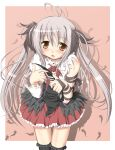 :o ahoge asymmetrical_clothes black_legwear blush brown_eyes feathers grey_hair hair_feathers highres knife long_hair looking_at_viewer original sakuraebi_chima skirt solo thigh-highs thigh_gap thighhighs thighs twintails very_long_hair