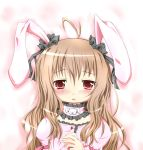 ahoge animal_ears blush brown_hair bunny_ears choker face frown hair_ribbon long_hair looking_at_viewer original portrait rabbit_ears red_eyes ribbon sakuraebi_chima solo tears