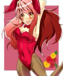 animal_ears armpits arms_up asahina_mikuru bad_id bowtie breasts brown_eyes bunny_ears bunnysuit cleavage detached_collar gradient_hair long_hair mikoshiba multicolored_hair pantyhose rabbit_ears red_hair redhead suzumiya_haruhi_no_yuuutsu tears