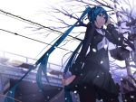 aqua_eyes aqua_hair hatsune_miku headphones holding long_hair pantyhose skirt snowing solo torigoe_takumi twintails very_long_hair vocaloid