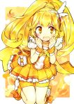 bike_shorts blonde_hair blush boots bow crying cure_peace electricity hanabana_tsubomi hands_on_own_face heart heart_background highres kise_yayoi long_hair magical_girl open_mouth ponytail precure shorts_under_skirt skirt smile_precure! solo tears very_long_hair yellow yellow_eyes