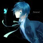 720yen arisato_minato blue_eyes blue_hair bow butterfly male persona persona_3 ribbon school_uniform simple_background solo