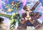 ass battle blonde_hair blue_eyes bodysuit braid brown_hair cannon eichisu exoskeleton flat_chest headset highres loli mecha_musume multiple_girls original power_armor quarterly_pixiv_9_original short_twintails twintails yellow_eyes