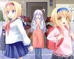 :d :o alice_margatroid alice_margatroid_(pc-98) anni_minto apron backpack bag blonde_hair blue_eyes blush closed_eyes dual_persona fang goddess hair_bobbles hair_ornament hands_clasped lavender_hair long_hair multiple_girls open_mouth randoseru school_uniform shinki short_hair side_ponytail smile time_paradox touhou touhou_(pc-98) wings yellow_eyes