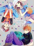 1girl 2boys baseball_cap blue_(pokemon) bulbasaur charmander english hat kasabuta multiple_boys ookido_green ookido_green_(frlg) pokemon pokemon_(creature) pokemon_(game) pokemon_frlg pokemon_rgby red_(pokemon) red_(pokemon)_(remake) squirtle tegaki